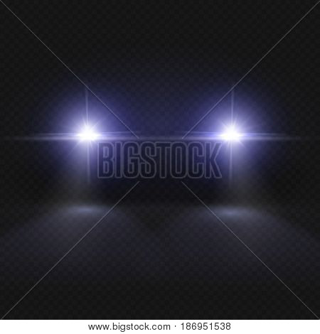 Car headlights. Headlamp glowing vector effect isolated on transpatent plaid background. Headlight in dark night, illustration of vehicle headlight front