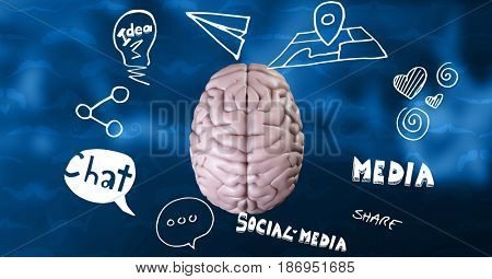 3D Digital composite of Digital composite image of brain amidst various icons in sky
