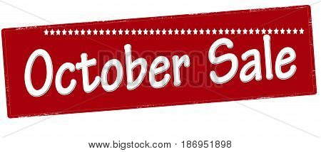 Stamp with text October sale inside vector illustration