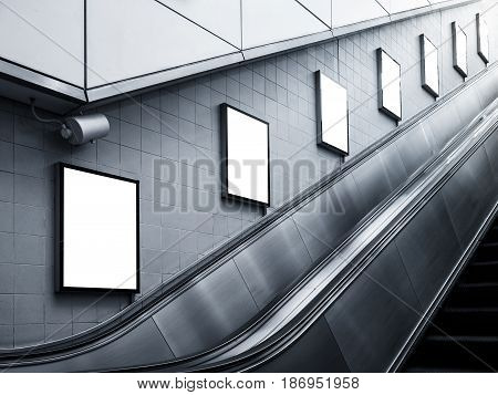 Mock up Billboard Poster ads Escalator side Subway station