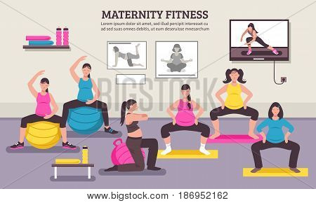Maternity group fitness class flat poster with aerobic muscles and balance exercises for pregnant women vector illustration