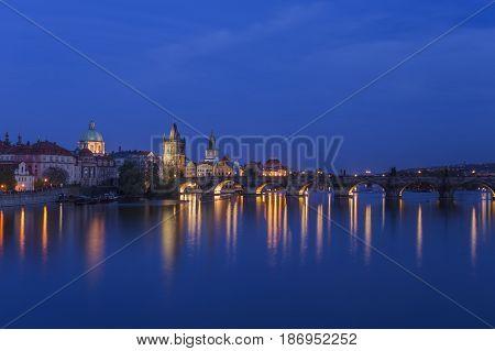 Charles Bridge at night Prague Czech republic