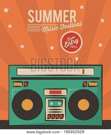 summer music festival stereo radio vintage card vector illustration