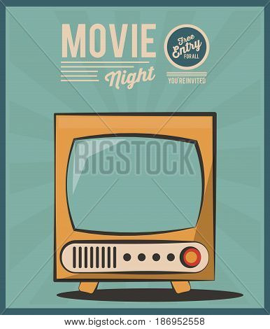 vintage card movie night tv invitation image vector illustration