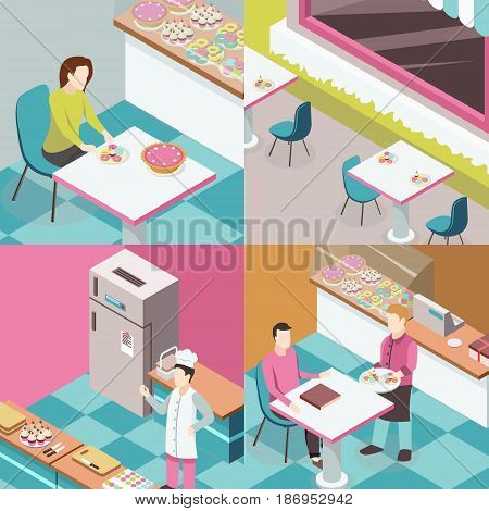 Sweet shop isometric design concept with chef at kitchen, tables outdoor, waiter and consumers isolated vector illustration