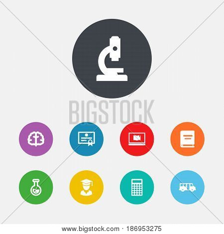 Set Of 9 Studies Icons Set.Collection Of Diplomaed Male, Marrow, Notebook And Other Elements.