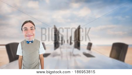 Digital composite of Nerd businessman smiling at outdoor office
