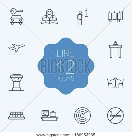 Set Of 12 Land Outline Icons Set.Collection Of Detection, Data, Luggage Check And Other Elements.