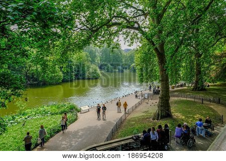 St.Jame's Park London UK - May 11 2017: St. Jame's Park Westminster view from the cafe of the lake.