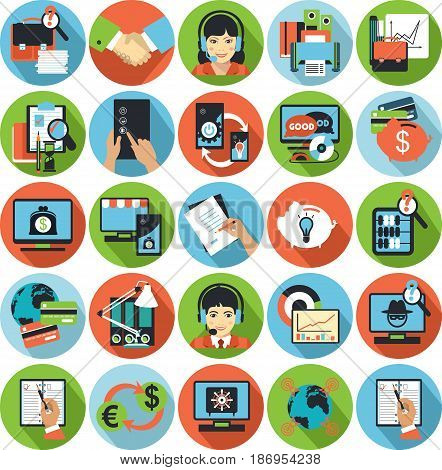 Vector business icons network technology database analyst labor productivity flat signs round shape
