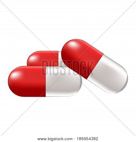 Vector medical illustration with pills or medications on a white background