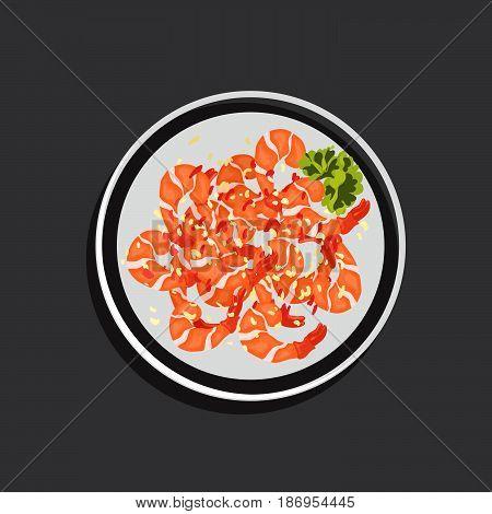 Cartoon vector illustration of fried shrimp with salad