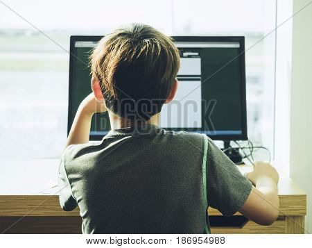 Kid browse on Internet Computer Technology Media Education