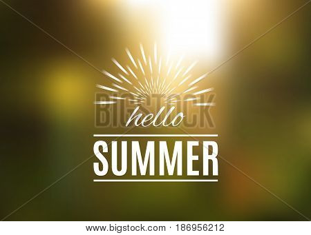 Hello Summer lettering template on a vintage doodle frame isolated on blurred green nature background. Hello Summer greeting card. Vector illustration