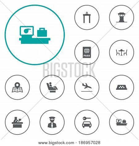 Set Of 12 Land Icons Set.Collection Of Cab, Security, Luggage Check And Other Elements.