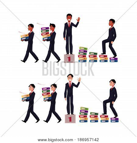 Black, African American and Caucasian businessman carrying folders, success, winning, career ladder, cartoon vector illustration isolated on white background. Businessman in business situations
