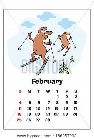 Wall calendar for February,  2018 with funny dogs. Fun children's illustration in cartoon style. Colorful vector background. Vertical orientation. Week starts Sunday.