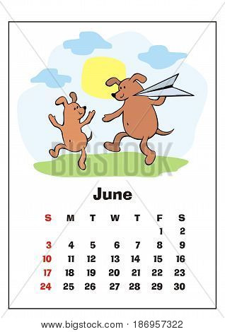 Wall calendar for June,  2018 with funny dogs. Fun children's illustration in cartoon style. Colorful vector background. Vertical orientation. Week starts Sunday.