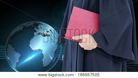 Digital composite of Midsection of judge holding book
