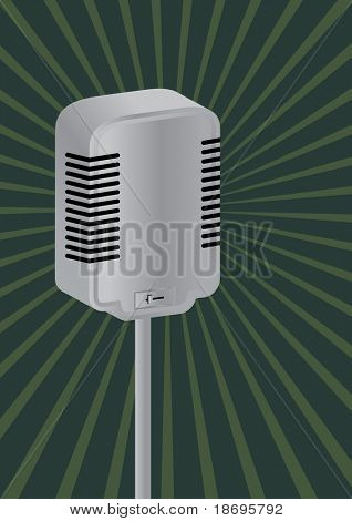 Microphone on retro style background , vector  illustration