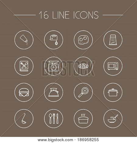 Set Of 16 Kitchen Outline Icons Set.Collection Of Hamburger, Skillet, Soup And Other Elements.