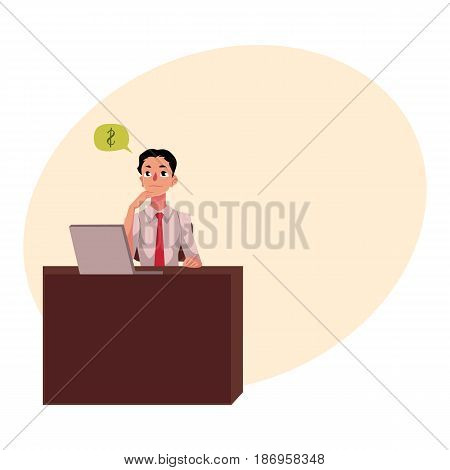 Young businessman, manager, financial analyst at office desk, thinking about money, cartoon vector illustration with space for text. Businessman, worker, employee working in office