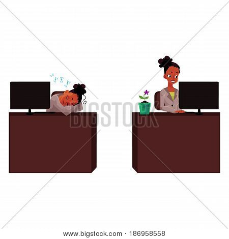 Black, African American businesswoman, secretary, working on computer, sleeping, office life, cartoon vector illustration isolated on white background. Black businesswoman, secretary, office situation