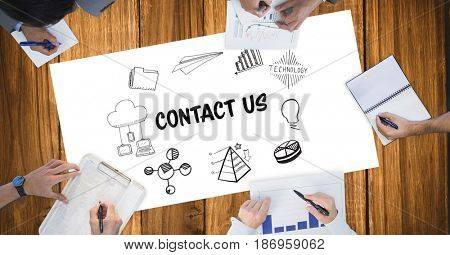 Digital composite of Cropped image of business people working with black graphics and text on table