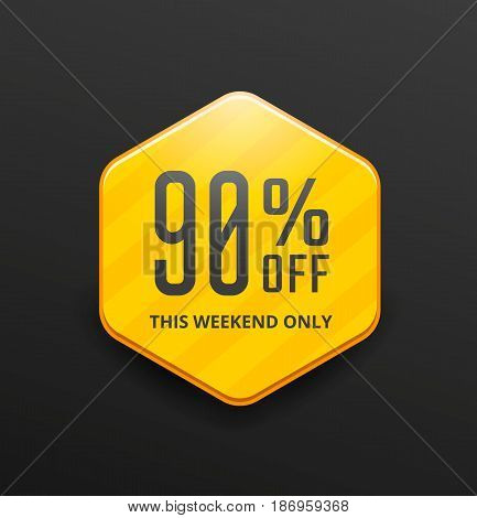 Yellow sale label design. Discount banner. Vector illustration