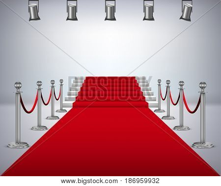 Red carpet with white stair . vector illustration .