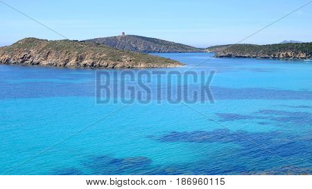 View on the beach Tuerredda with crystal sea water in Teulada in Sardinia Italy.