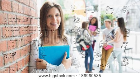 Digital composite of Digital composite image of math equation with female college student in background