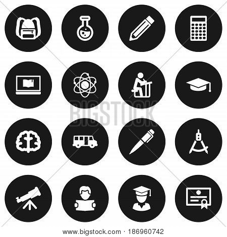 Set Of 16 Science Icons Set.Collection Of Certificate, Molecule, Marrow And Other Elements.