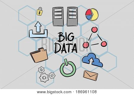 Digital composite of Digital composite image of big data text surrounded by icons