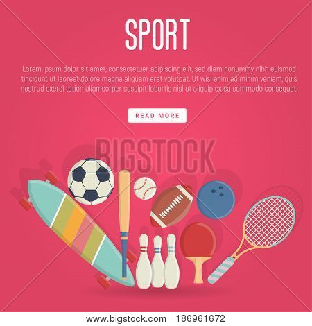 Sport equipment concept in flat style. Skateboard, football, tennis, baseball, bowling elements for background. Vector illustration.