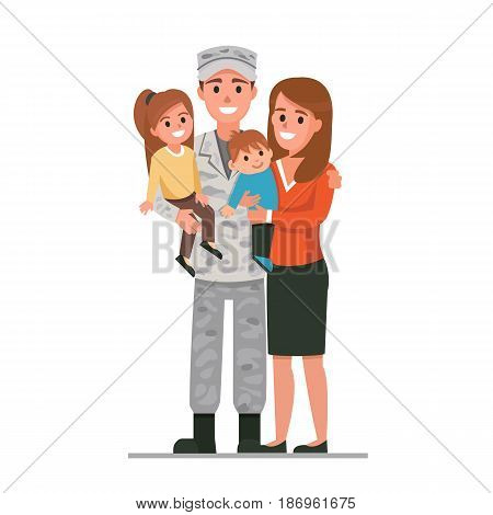 Military man with his family. Vector illustration.
