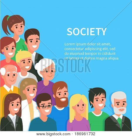 Society conceptual banner with people avatars. Vector illustration.