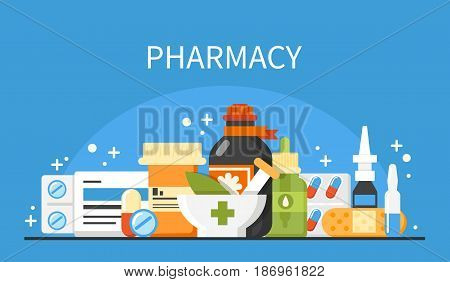Pharmacy concept banner. Vector flat medical illustrations.