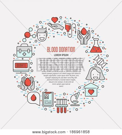 Blood donation concept, thin line icons in circle with place for text inside. World blood donor day. Vector illustration.
