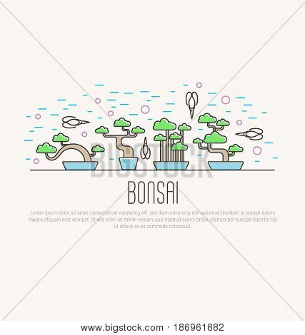 Set of flat miniature bonsai in pots with scissors around. Japanese culture. Vector illustration of plants in thin line style; concept for web site; postcard; print.