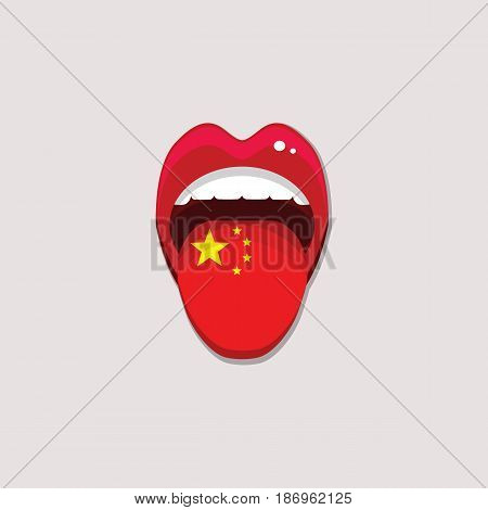Learning languages concept. Learning Chinese language. Open mouth with flag of China. Chinese language tongue open mouth with flag of China. Vector illustration. EPS 10.