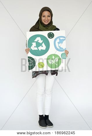 Adult Woman with Recycle Sign Eco Friendly Save Earth Word Graphic