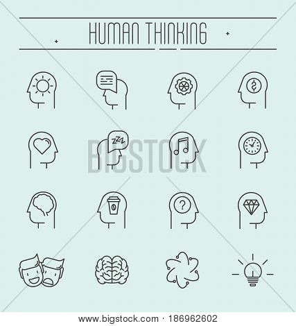Set of head thinking icons in modern thin line style. Process in head of human. Vector illustration.