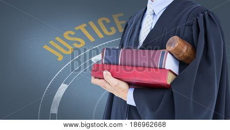 Digital composite of Midsection of judge with books