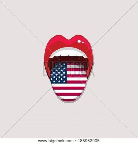 Learning languages concept. Learning English american language. Open mouth with flag of USA. English language tongue open mouth with flag of America. Vector illustration. EPS 10.