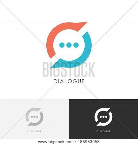 Dialogue cycle logo - colored chat symbol. Conversation, discussion and talk vector icon.