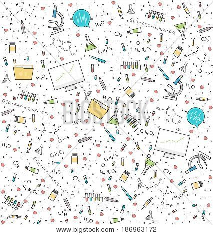 Science medical seamless pattern. Background for laboratory research or clinic with chemical formula and medical equipment. Vector illustration.