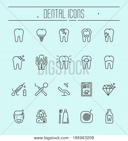 Set of dental care icons, dental treatment, dental equipment, oral hygiene. Thin line elements for website or app with editable stroke.