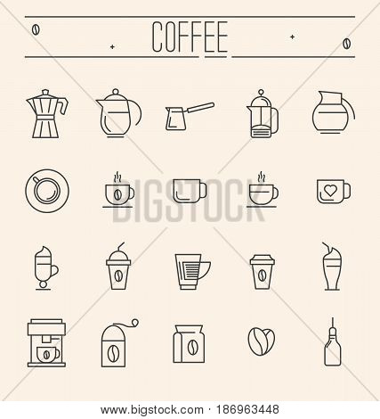 Set of coffee equipment icons for shop, cafe, menu or web site. Vector illustration in thin line style.