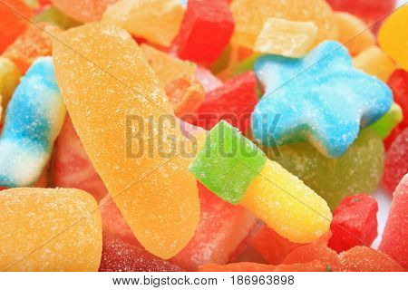 Tasty and colorful jelly candies, closeup
